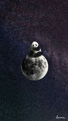 This panda bear will love you to the moon and back. Panda art by the insanely talented Panda Wallpaper Iphone, Cute Panda Wallpaper, Panda Wallpapers, Bear Wallpaper, Galaxy Wallpaper, Cute Wallpapers, Wallpaper Backgrounds, Diamond Wallpaper, Animal Wallpaper