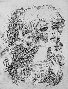 The face of the zombie mermaid I want, needs some tweaking but overall nice drawing