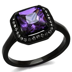 Princess Cut Amethyst Cz Black Stainless Steel Fashion Ring Womens Size 8 >>> Check out the image by visiting the link.(This is an Amazon affiliate link and I receive a commission for the sales)