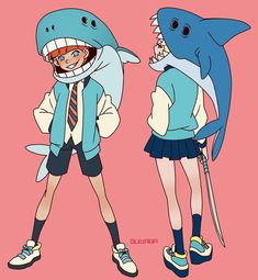 "2,727 Likes, 12 Comments - @guwaba on Instagram: ""#shark girl and #whale boy By.@guwaba - #캐릭터디자인 #sketch #character #design #illust #illustration…"""