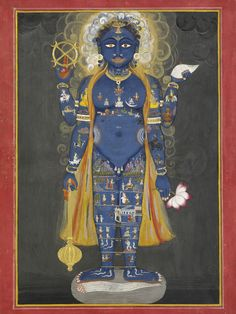 A gilded watercolour depiction of the Hindu god Vishnu Vishvarupa, c.1800-20, Jaipur, Rajasthan, India; the god is shown with his characteristic symbolic blue skin and holding various symbolic attributes: a mace, a disc, a conch shell and a lotus. (Victoria and Albert Museum, London)