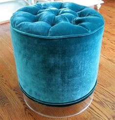 Tufted Velvet Stool in Teal features clear acrylic base. Round shape and opulent upholstery create elegant and feminine seating for your home.