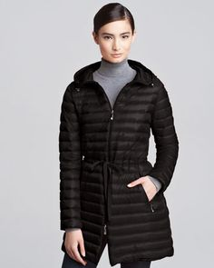 Mid-Length Puffer Coat, Black by Moncler at Bergdorf Goodman.