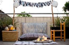 DIY upcycling Sitzkissen aus Flickenteppichen für den Balkon