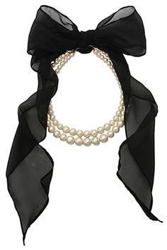 Pearl Necklace with Large Black Bow