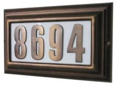 Edgewood Large Address Plaque, Lighted - contemporary - house numbers