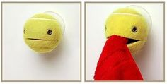 really cute towel holder out of a tennis ball