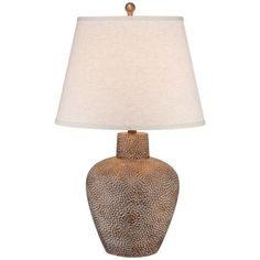 Bentley Brown Leaf Hammered Pot Table Lamp