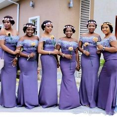 2017 Elegant Purple Lace Mermaid Bridesmaid Dresses Plus Size Africa Style Prom Evening Gowns Off Shoulders Long Floor Length