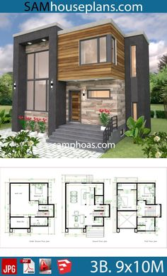 House Plans with 3 Bedrooms - Sam House Plans - Architecture Sims 4 House Plans, House Layout Plans, Duplex House Plans, Bedroom House Plans, Cottage House Plans, House Layouts, Free House Plans, Small Modern House Plans, Small House Design
