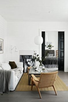 Black doors and bright white walls make such an amazing statement.