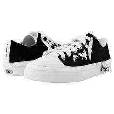 Poe Inspired, Raven, Black and White Low-Top Sneakers