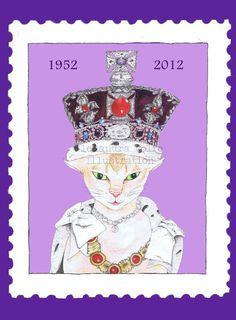 Queens jubilee princess cat in stamp illustrated by Alexandra Rolfe, £7.50 www.alexandrarolfe.com