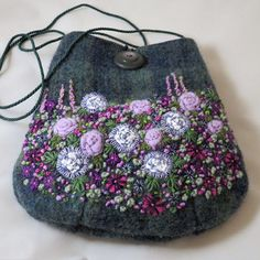 Embroidered Bag - purple garden on recycled blue green tweed
