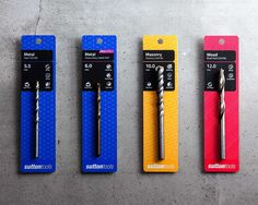 #Packaging design for Sutton Tools. Colourful and modern, designed for easy reading and identification.