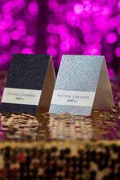 Glitter Escort Cards by JustInviteMe on Etsy