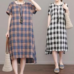 Grid Cotton Linen Grid Dresses Causal Dresses Women clothes
