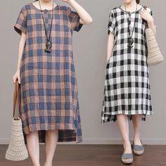 Grid Cotton Linen Grid Dresses Causal Dresses Women clothes