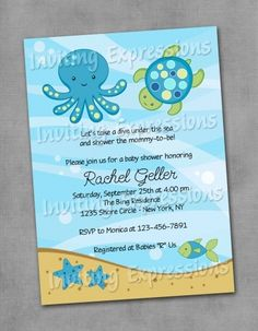 under the sea octopus baby shower or birthday invitation sample, Baby shower invitations