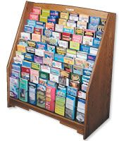 We need some way to neatly organize brochures so customers don't see a big mess. If we cannot get a rack, how about some well-labelled file drawers?