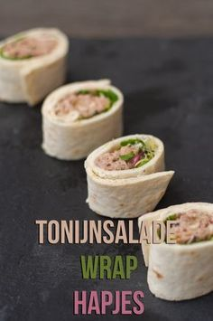 Tonijnsalade wrap hapjes - The answer is food Tonijnsalade wrap hapjes Tonijnsalade wrap hapjes - The answer is food Tonijnsalade wrap hapjes Baby Food Recipes, Gourmet Recipes, Snack Recipes, Healthy Recipes, Food Baby, Tacos And Burritos, Salad Wraps, High Tea, Clean Eating Snacks