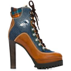 Blue and brown cotton and leather denim detail lace-up boots from DSQUARED2 featuring an almond toe, a lace-up front fastening, contrasting panels, a high heel…
