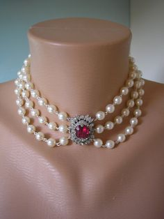 Bridal Necklace Rhinestone And Pearl Choker Deep by CrystalPearl, $88.00