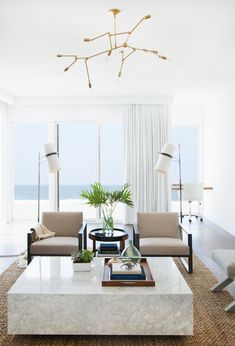 Modern and transitional in a white beachfront home.