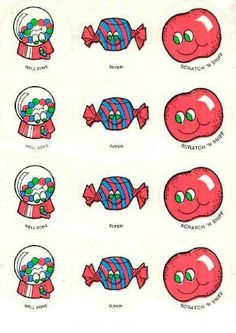 Bubble Gum CTP scratch and sniff stickers - 1980's