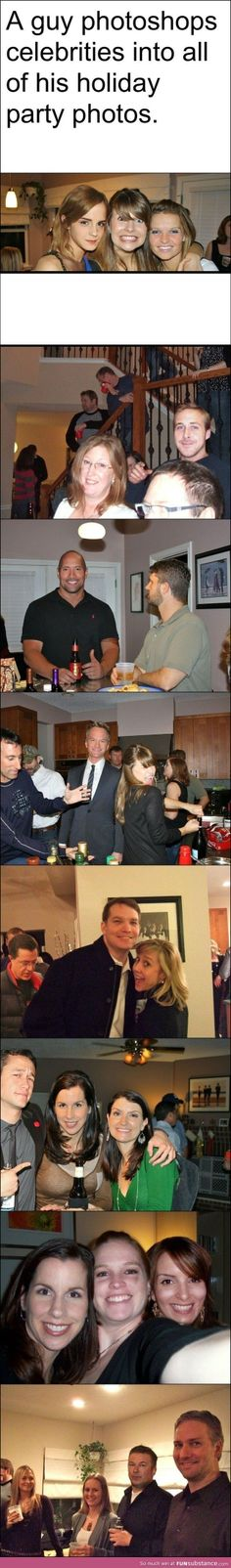 """That's how it's done. I can spot Emma Watson, Ryan Gosling, Dwayne """"the rock"""" Johnson, Tina Fey.. these are hilarious XD"""