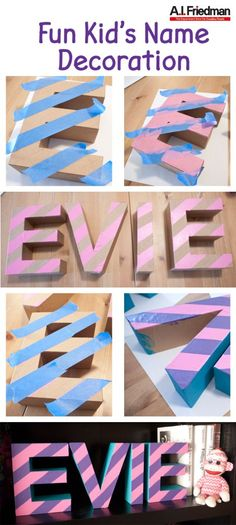 Fun Kid's Name Decoration - With some paper mache letters and craft paint you can make a great personalized room decoration! #diywithaif #project #diy #name #sign #marquee #letters #craft