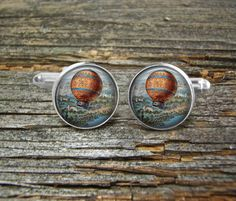 Hot Air Balloon Vintage Over City Silver or Gold-Cufflinks-Wedding- Cufflink Box-Jewelry Box-Keepsake-Gift-Man gift-Men-USA-Aviation-Science by CynthiaCoolBeans on Etsy