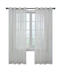 Curtain Fresh Arm and Hammer Odor Neutralizing Grommet White Sheer Curtain Panel, 108 in. Length