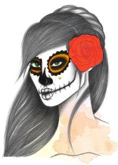 Sugar Skull V, illustration by Lidiane Dutra #dayofthedead