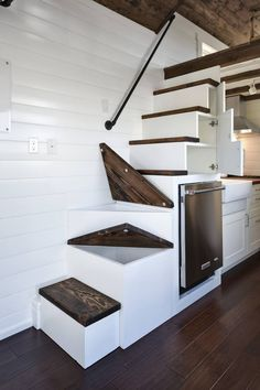 DIY Tiny House Storage And Organization Ideas On A Budget Tiny House On Wheels budget DIY House ideas Organization Storage Tiny Tiny House Swoon, Tiny House Living, Tiny House Plans, Tiny House Design, Tiny House On Wheels, Bus Living, Living Room, Living Area, Living Spaces