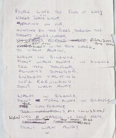 "Lyrics for ""Atmosphere"", Joy Division, written in Ian Curtis' own hand"