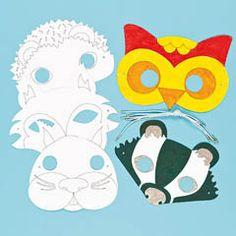 Pre-printed cardboard masks in 6 assorted woodland animal designs including owl and badger.