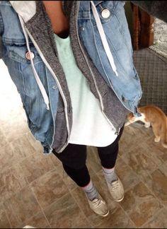 casual attire, sweatshirt outfit, denim jacket hoodie, leggings and hoodie outfit, casual styles