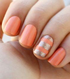 Coral and gold nails #nails #coral #spring