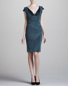 Zac Posen Two-Tone Jersey Dress, Green/Gray