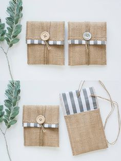 Grey & White Stripes Burlap USB Packaging by LakariCreativeStudio