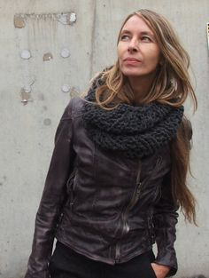 Charcoal grey loose knit Cowl by ileaiye on Etsy, $36.00