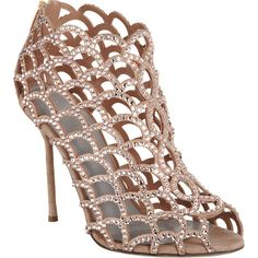 Sergio Rossi Crystal Mermaid ($1,670) ❤ liked on Polyvore featuring shoes, sandals, heels, sapatos, boots, nude heel sandals, heeled sandals, cut out sandals, nude peep toe shoes and leather sole shoes