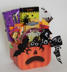 Festive Halloween Candy Gift Basket. Candy Gift Baskets, Candy Gifts, Russell Stover, Halloween Festival, Business Profile, Novelty Items, Halloween Candy, Pop Tarts, Floral Arrangements