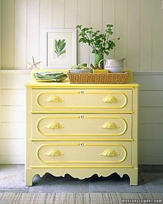 Dresser painted in two tones of yellow