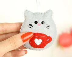 Addobbo gatto di Natale, ornamento in feltro, gatto feltro, regalo di Natale, albero di Natale, portachiavi gatto, casa dolce casa, tazza tè