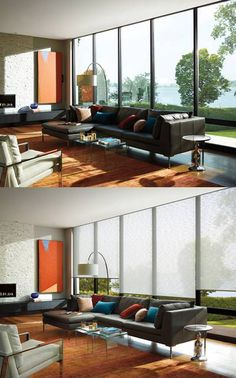 Create your individual masterpiece with the addition of Alustra® Woven Textures® roller shades. ♦ Hunter Douglas window treatments #LivingRoom #ContemporaryDecor