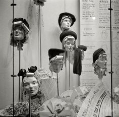 "Faces in the News: 1941 October ""Manikins in store window."" Faces in the News, and vice versa. Medium-format negative by John Collier. Vintage Mannequin, Mannequin Heads, Creative Fashion Photography, Vintage Photography, 1940s Photos, Vintage Photos, 1940s Fashion, Vintage Fashion, Women's Fashion"