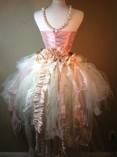 Victorian Wedding Tutu with train//Weddings//XV Tutu Pink//Prom Tutu Corset set CLEO by Elena