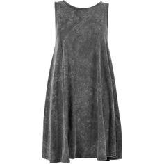 Boohoo Katie Acid Wash Swing Dress ($20) ❤ liked on Polyvore featuring dresses, vestidos, swing dress, tent dress, trapeze dress, acid wash dress and boohoo dresses